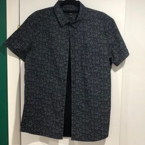 Marc Anthony Black Dotted Short Sleeve Button Down